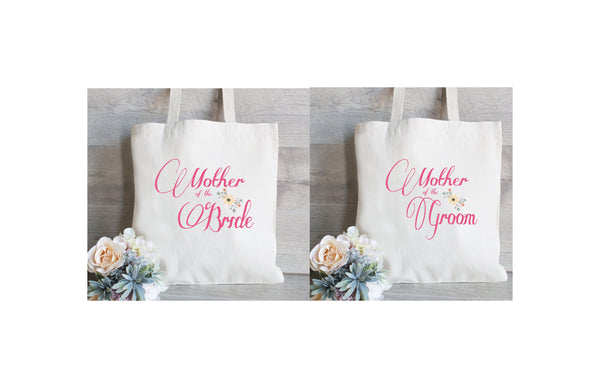 Mother of the Bride & Mother of the Groom Set- Wedding Tote Bags, Floral Wedding Bags