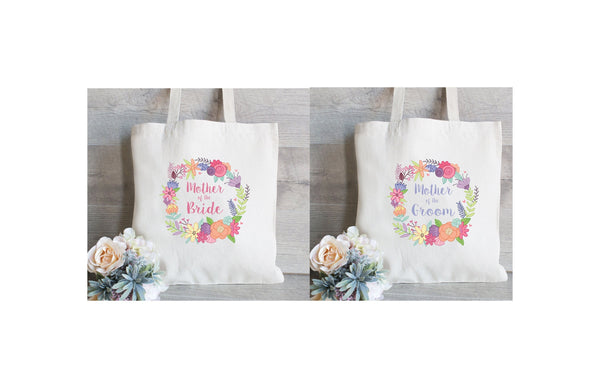 Mother of the Bride & Mother of the Groom Set, Wedding Tote Bags, Floral Wedding Bags, Spring Floral Wreath