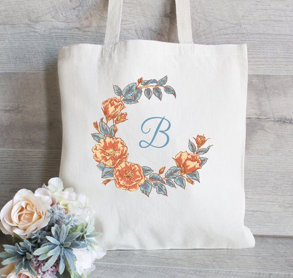 Bridesmaid Tote Bag, Wedding Tote Bag, Gift Bag for Bridesmaid, Floral Wreath Tote Bag, Monogram tote bag