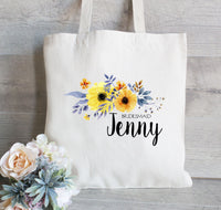 Tote Bag for Bridesmaid Tote Bag, Bridal Party Tote, Wedding Welcome Bag, Flowers