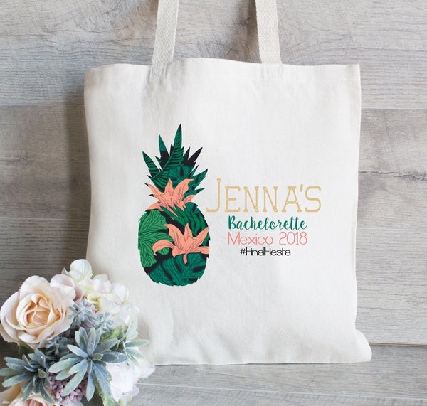 Bachelorette Gift Bag, Pineapple theme Bachelorette, Personalized Bag, Tropical Bridesmaid Tote Bag, Girls Weekend Tote Bag, Canvas Tote Bag
