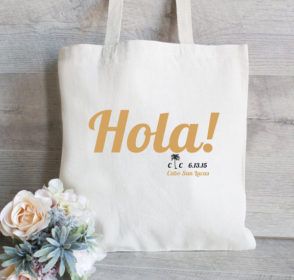 Hola Tote Bag for Wedding,  Hotel Tote Bag, Wedding Favor Bag, Destination tote bag, Palm tree tote bag, Beach tote bag