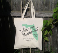 Where my Beaches At Tote Bag, Set of 8, Bachelorette Tote Bag, Set of 8,  Destination Wedding Tote Bags, Hotel Bags for Guest, Favor Bags