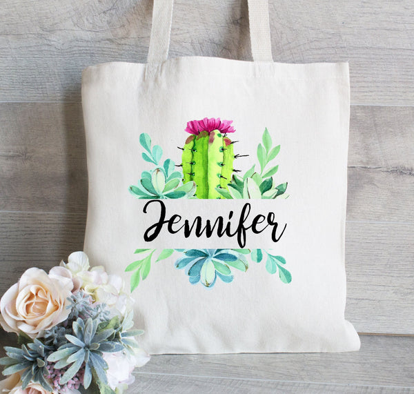 Bridesmaid Gift Tote Bag, Cactus and Succulent Tote Bag, Personalized tote bag,  Bridal Party Gift and Favors, Canvas Tote