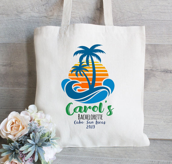 Bridesmaid Gift Tote Bag, Palm Tree and Beach, Tropical Tote Bag for Beach, Personalized tote bag, Bridal Party Gift and Favors, Canvas Tote