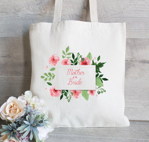 Personalized Mother of the Bride, Mother of the Groom, Mother of the Bride Gift, Wedding Tote Bag, Canvas Tote, Floral Wreath, Water Color