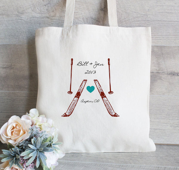 Wedding Hotel Bag for Ski Lodge, Set of 25, Colorado Wedding Bags, Mountain Wedding Tote Bag, Personalized Tote Bag for your Wedding