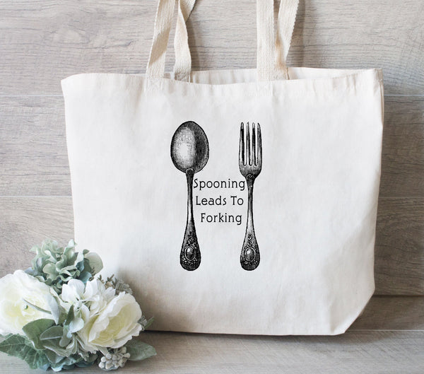 Reusable Grocery Bag, Market Tote Bag, Eco Friendly Tote Bag, Spooning Leads to Forking, Funny Tote Bag, Gift for friend
