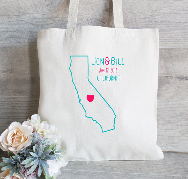Wedding Welcome Tote Bag - Wedding Bag - Outline of State with Names and date - You choose State