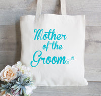 Mother of the Bride & Mother of the Groom Set, Wedding Tote Bags for Bridal Party, Set of 2 MOB and MOG Bags