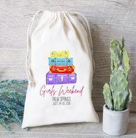 Girls Weekend Favor Bag, Hangover kit bag, Suitcase Favor Bag, Bachelorette Party Favor, Personalize Drawstring Bag, Greenery