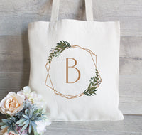 Bridesmaid Tote Bag set of 6, Custom Wedding Tote Bag, Bridesmaid Bag,  Flower Girl  gift, Monogram Tote Bag, Green Wreath