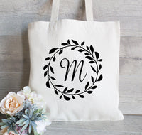 Wedding Tote Bag, Wreath Wedding Welcome Tote -Bridesmaid Tote Bag - Flower Girl Tote Bag,  Monogram Initial Bag