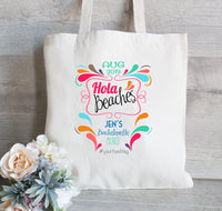 Hola Beaches Tote Bags, Set of 10, Bachelorette Tote Bags,Custom Tote bags,  Bachelorette Gifts, Beach tote bags