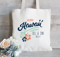 Wedding Welcome Tote, Hola Amigo Tote Bag, Wedding Tote Bag, Hotel Guest Bag,  Hawaii Wedding Aloha, Customize for FREE