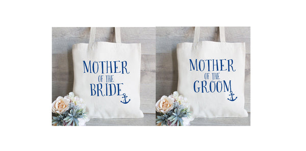 Mother of the Bride Tote Bag, Mother of the Groom Set, Wedding Tote Bags, Floral Wedding Bags, Nautical Wedding Favor, MOB, MOG