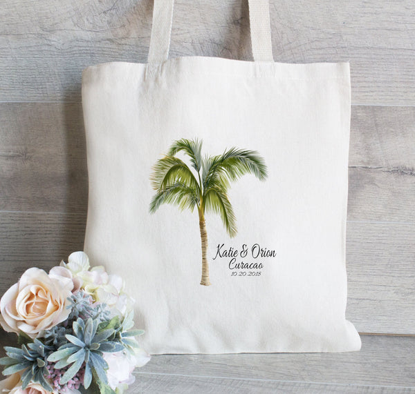 Wedding Welcome Tote Bags, Set of 25, Hotel Guest Tote Bag, Beach Tote Bag for Wedding, Palm Tree Tote Bag, Wedding Favor