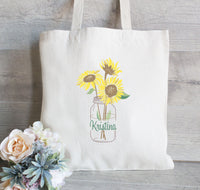 Bridesmaid Gift Bag, Gift for Bridesmaid, Sunflower Tote Bag for Wedding Party, Flower Girl Tote Bag, Bachelorette Tote bag