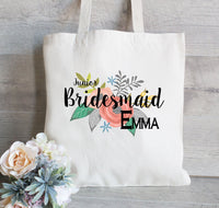 Junior Bridesmaid Gift, Bridesmaid Gift Tote Bags, Floral Wedding Totes,  Bridal Party Tote Bags, Personalized Tote Bags for Wedding
