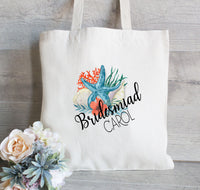 Starfish Tote bag for Bridesmaid, Girls weekend tote bag, Beach tote, Destination Wedding Tote, Ocean Theme Wedding Favor