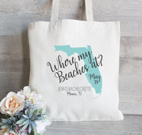Where my Beaches At Tote Bag, Set of 10, Bachelorette Tote Bag, Set of 10,  Destination Wedding Tote Bags, Hotel Bags for Guest, Favor Bags