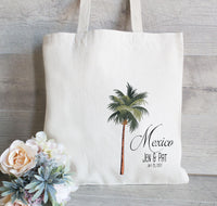 Palm Tree Tote Bag, Set of 25, Wedding Welcome Tote Bags, Custom Tote Bag for Wedding, Destination Wedding Favor, Mexico Wedding Set of 25