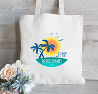Bridesmaid Tote Bag, Palm Tree Tote Bags, Be My Bridesmaid Gift, Wedding Proposal Gift, tropical Wedding Beach bags
