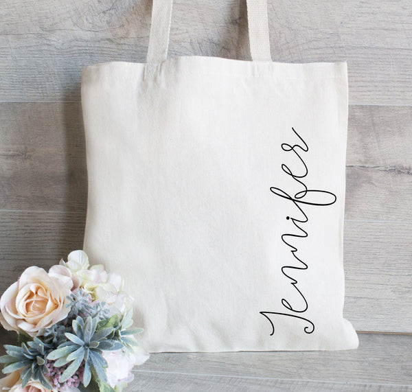 Custom Tote Bag with Name - Canvas Tote Bag - Personalized Tote Bag Bridesmaid Tote Bag - Holiday Gift Bag