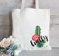 Bachelorette Cactus Tote Bag, Personalized Bridesmaid Tote Bag, Set of 6, Gift For Her, Wedding Favor Bag, Monogrammed Canvas Bag, Shower
