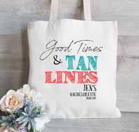 Good Times and Tan Lines , Bachelorette Tote Bag, Wedding Welcome Bag, Bachelorette Party Favor, Hotel Bag for Guest, Beach tote