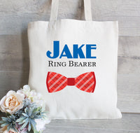 Ring Bearer Personalized Bow Tie Tote, Ring Bearer Gift Bag, Wedding Party Gifts