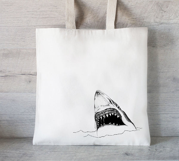 Shark Tote Bag, Eco Friendly Tote Bag, Shopping Bag, Book bag, Funny Tote Bag, Shark Week Tote, farmers market tote bag