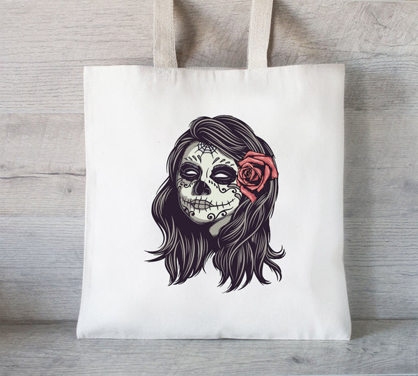 Eco friendly Grocery Bag, Sugar Skull, Day of the Dead Tote Bag, Gift for Her, Book Tote Bag, Library Tote