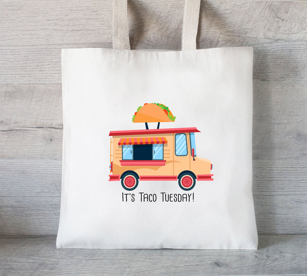 Taco Tuesday Tote Bag, Grocery Tote , Reusable Book Bag, Food Truck