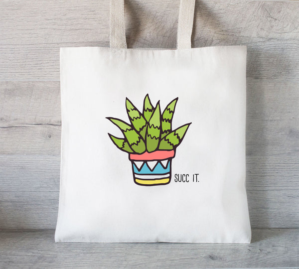 Succulent Tote Bag, Reusable Tote Bag, Grocery Bag, Succ It Tote