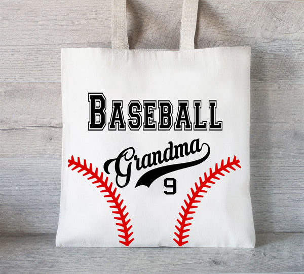 Baseball Mom Tote Bag, Reusable Tote Bag, Gift for baseball team, Baseball Grandma, fundraiser tote, Baseball team tote bag