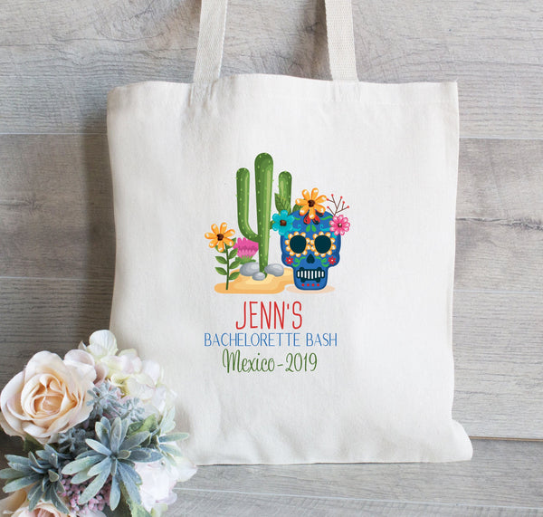 Bachelorette Party Bag, Day of the Dead Favors, Skull with Cactus bags for Bachelorette Bash, Camp Mug, Favor Bags, Backpack