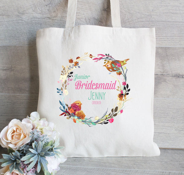 Flower Girl Tote Bag, Junior Bridesmaid Tote, Wedding Welcome Bag, Wedding Tote Bag