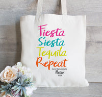 Bachelorette Tote Bag, Set of 10, Hangover Bag,  Mexico  Bachelorette Party, Fiesta Siesta Tequila Repeat, Mexico Wedding
