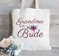 Grammy of the Bride, Personalized Tote Bag, Gift For Grandma, Floral Bag for Wedding Party