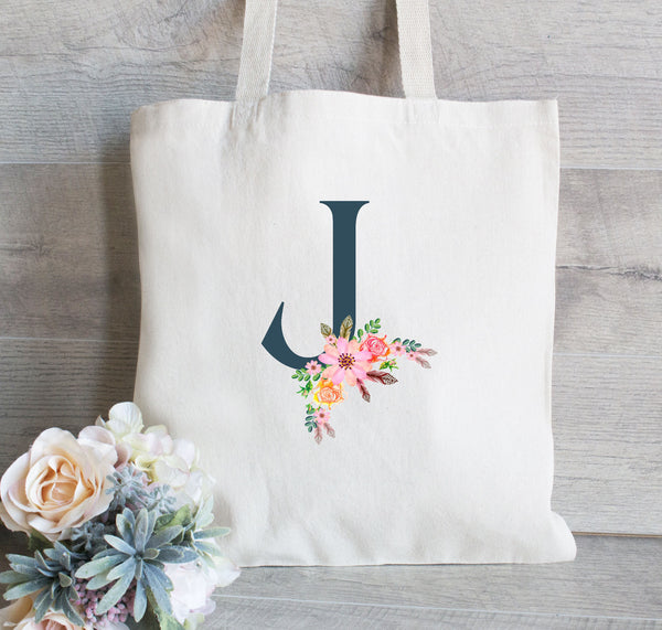 Bridesmaid Tote Bag, Floral Initial Letter Wreath, Personalized Tote Bag, Monogrammed Tote, Bridesmaid Gift Bags, Welcome Bags for Wedding