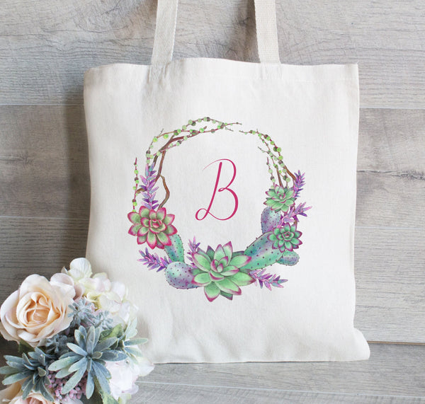 Personalized Succulent Wreath, Bridesmaid Initial Tote Bag, Wedding Welcome Bag, Canvas Tote