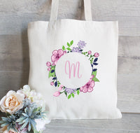 Bridesmaid Gift Tote Bag, Floral Wedding Tote Bag, Personalized tote bag, Bridal Party Gift and Favors, Purple and Pink flowers