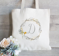 Wedding Tote Bag for Bridesmaid, Bridal Party Gifts, Bachelorette Party Gift Bag, Wreath tote bag, Hotel guest tote, Beach bag