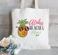 Bachelorette Party Pineapple with Sunglasses, Wedding Tote Bag, Bridesmaid Tote Bag, Bachelorette Party Favor, Beach tote with Palm Trees
