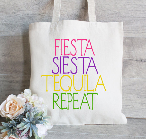 Fiesta Siesta Tequila Repeat , Mexico Bachelorette Tote Bag, Bachelorette Party Gift, Favors for Bachelorette, Canvas Tote Bag, Beach Tote