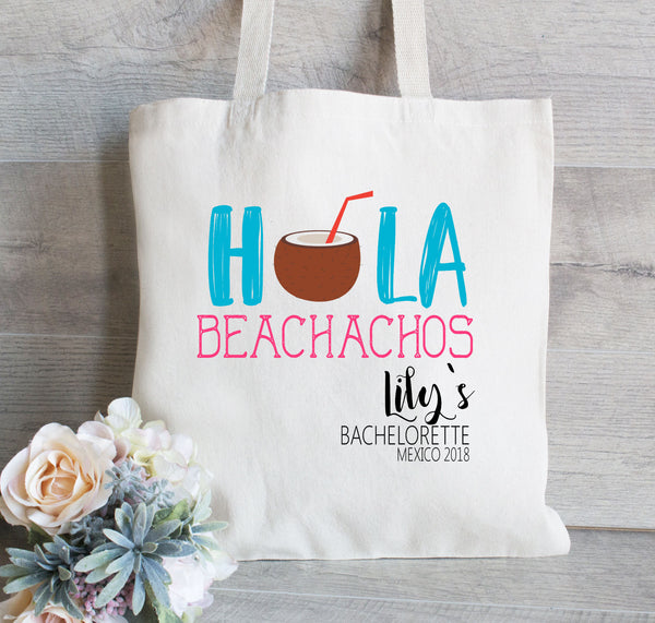 Hola Beachachos, Bachelorette Tote Bag, Flip Flops, Girls Weekend, Personalized Bachelorette Tote Bag, Beach Bag, Beachlorette Party
