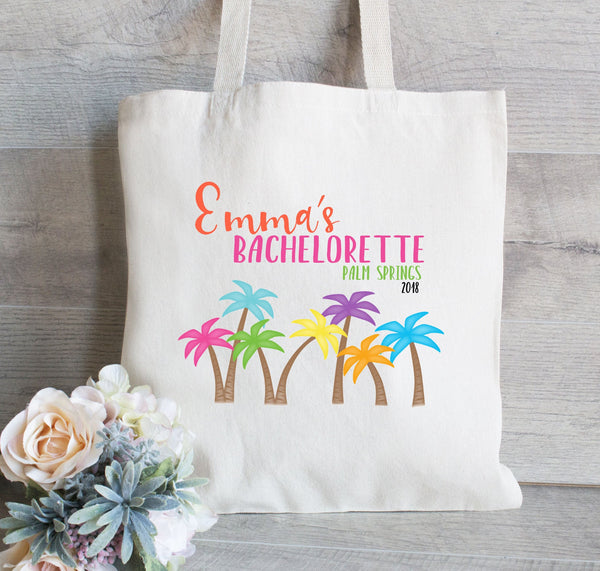 Bachelorette Party Gift Bag, Palm Springs, Palm Trees, Bachelorette Party Favor, Beach tote with Palm Trees