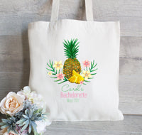 Hawaiian Bachelorette Party Tote Bags, Pineapple Bachelorette, Hawaiian Flowers, Canvas Tote, Wedding Welcome Tote Bags, Customized