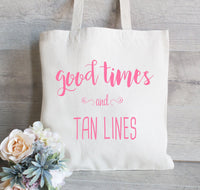 Good Times and Tan Lines , Set of 10, Bachelorette Tote Bag, Wedding Welcome Bag, Bachelorette Party Favor, Hotel Bag for Guest, Beach tote